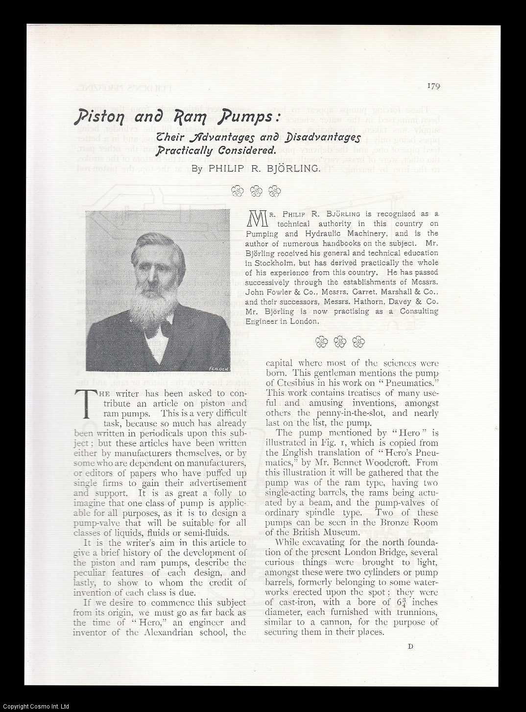 BJORLING, PHILIP R. - Piston and Ram Pumps: Their Advantages and Disadvantages Practically Considered. A rare original article from Feilden's Magazine. The World's Record Of Industrial Progress., 1899.