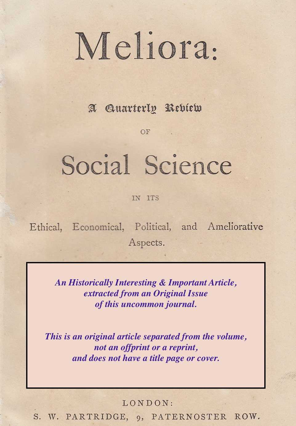 --- - The Sale of Drugs and Poisons. Special Report from the Select Committee on the Chemists and Druggists Bill. A rare original article from Meliora: A Quarterly Review of Social Science, 1865.