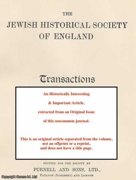 ROSS, J.M. - Naturalisation of Jews in England. A rare original article from the Jewish Historical Society of England.