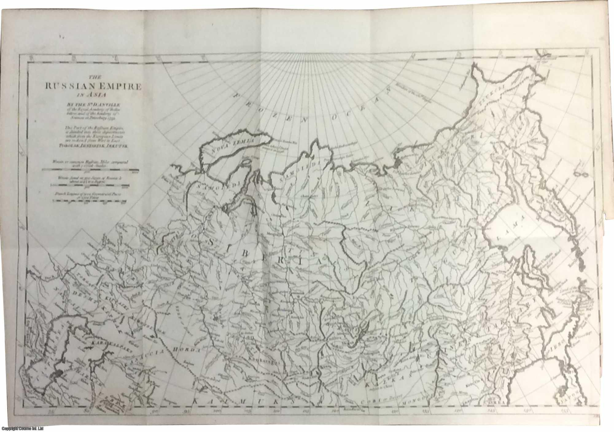 [COPPER ENGRAVED MAP]. The Russian Empire in Asia. Tobolsk, Ieniseisk, Irkutsk., d'Anville, Jean Baptiste Bourguignon