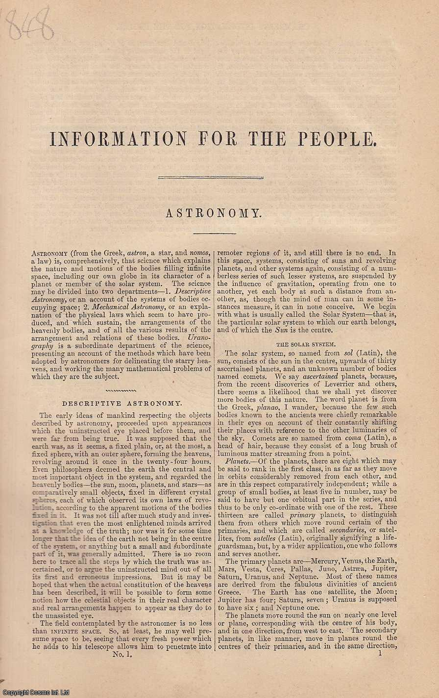Astronomy. An article from Chambers's Information for the People., Chambers, William & Robert.