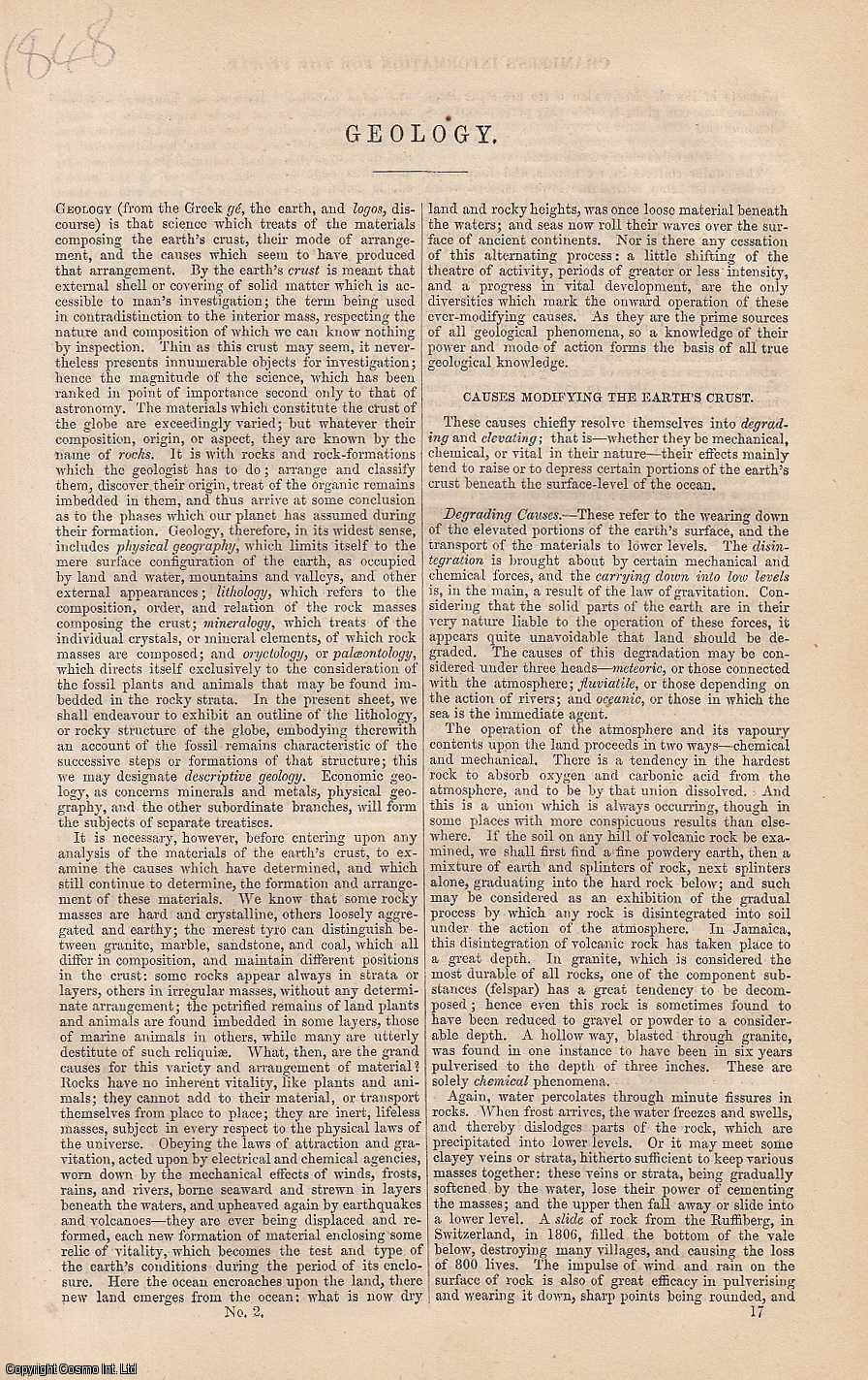 Geology. An article from Chambers's Information for the People., Chambers, William & Robert.