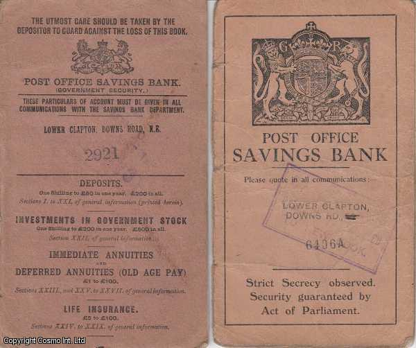 Post Office Savings Bank Booklets, a pair. 1907-22, 1932-39., ---