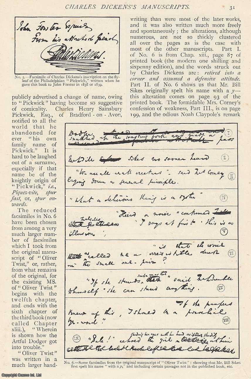 Dickens's Manuscripts., Schooling, J. Holt