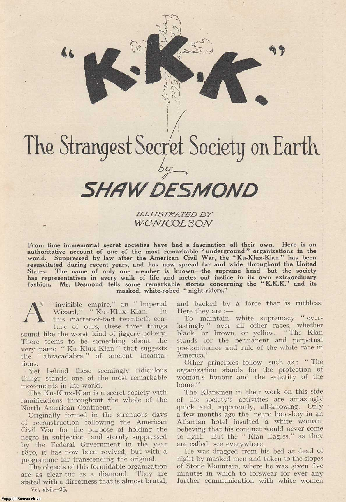 K. K. K. The Strangest Secret Society on Earth. Wide World Magazine, August 1921., Desmond, Shaw