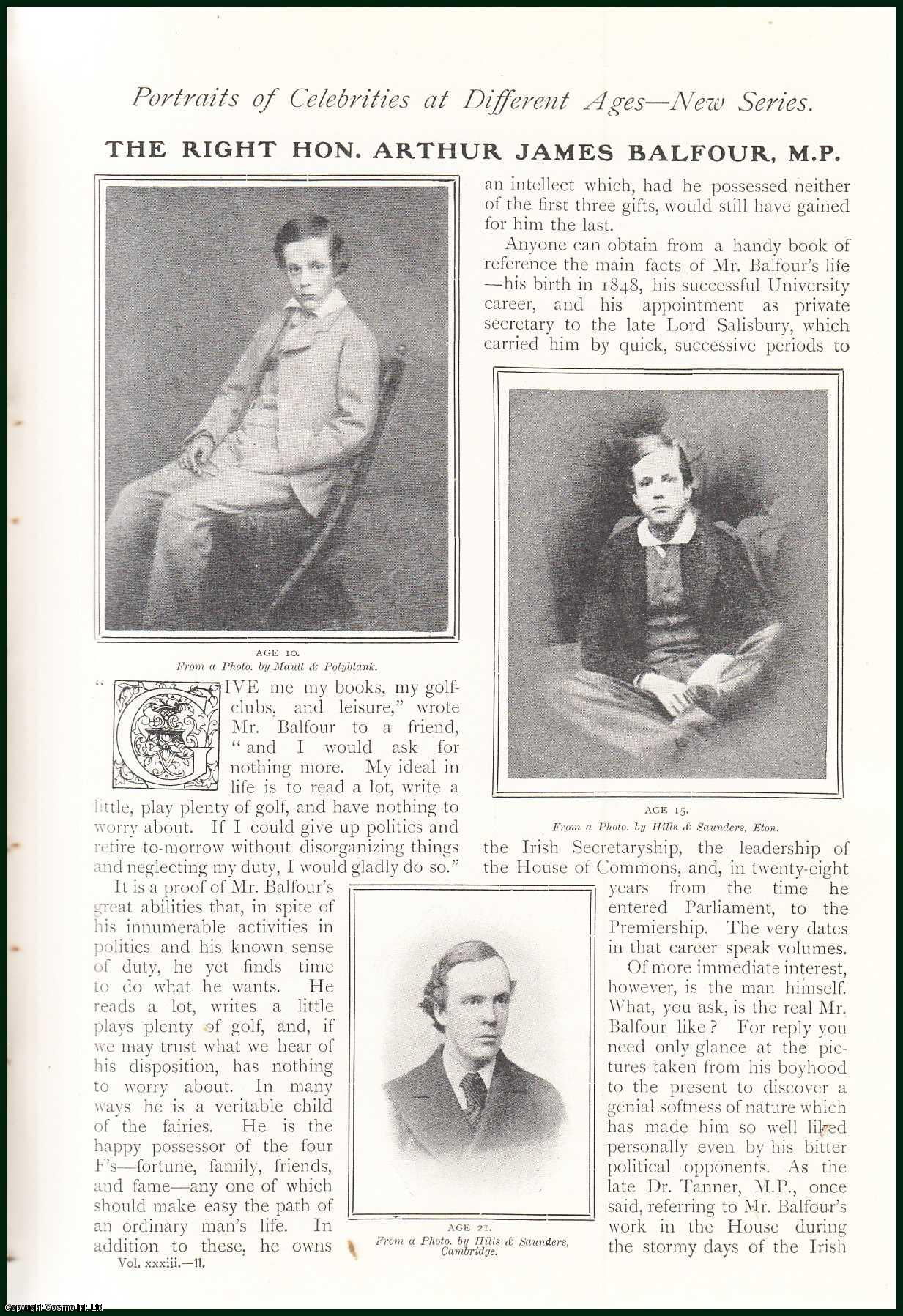 --- - The Right Hon. Arthur James Balfour. Portraits of Celebrities at Different Ages. A rare original article from The Strand Magazine, 1907.