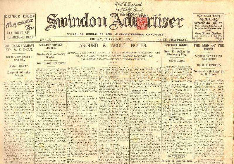 --- - Swindon Advertiser. Wiltshire, Berkshire and Gloucestershire Chronicle. Friday, 17th January, 1930.