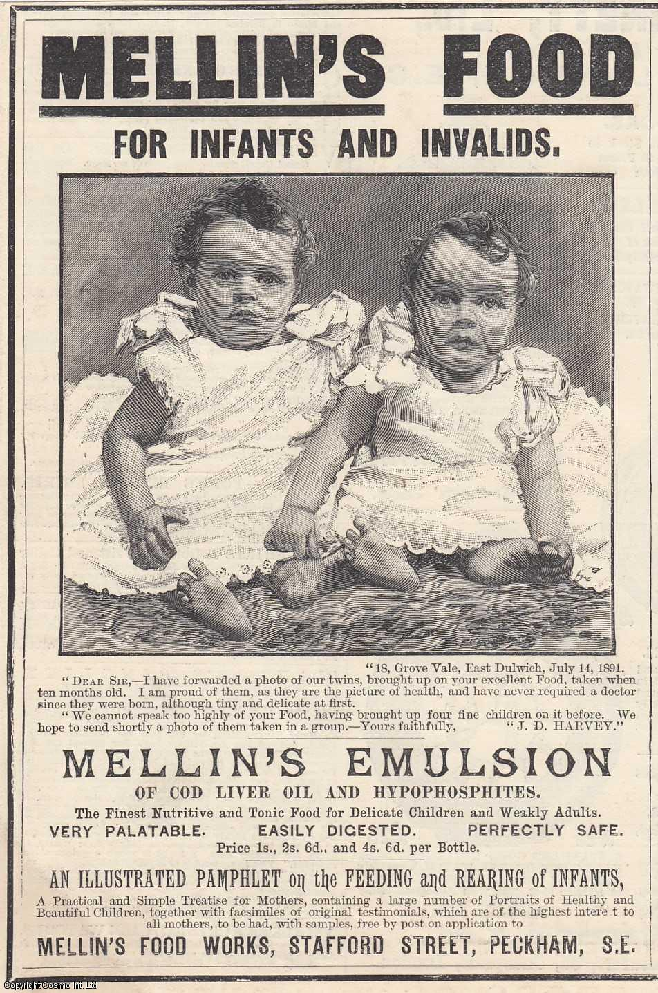 ENGRAVING - Advert. Mellin's Food for Infants and Invalids. 1893. [3].