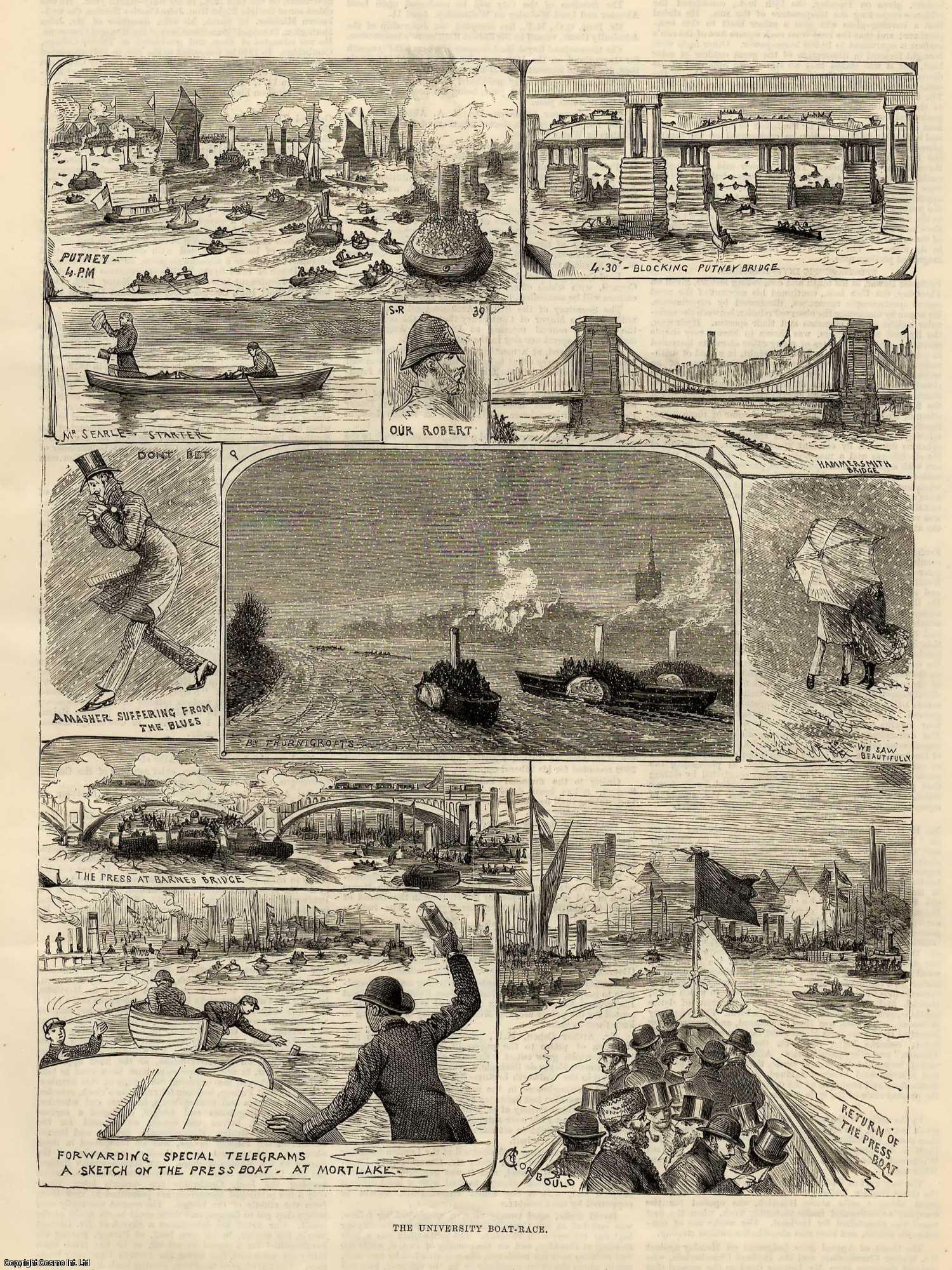 ENGRAVING - The University Boat Race. Oxford-Cambridge. 1883.