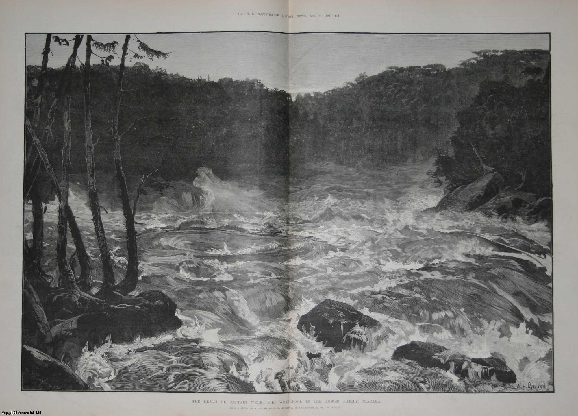 ENGRAVING, W.H. OVEREND - Captain Matthew Webb, the celebrated swimmer. His death in the whirlpool in the Lower Rapids, Niagara. Together with accompanying text and other engravings. 1883.