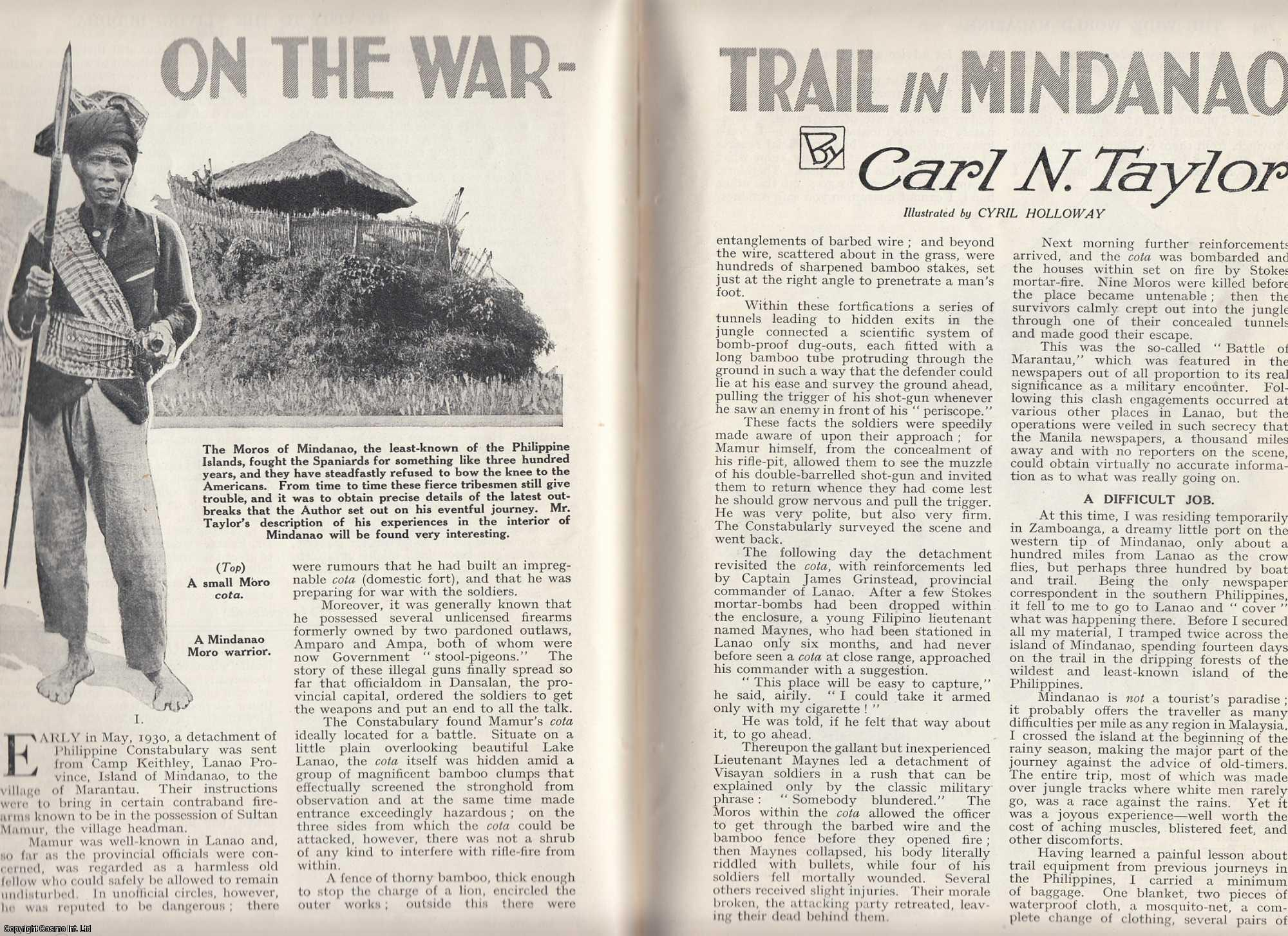 TAYLOR, CARL N. - On The War-Trail in Mindanao, Philippines. A two part story. An original article from the Wide World Magazine, 1932.