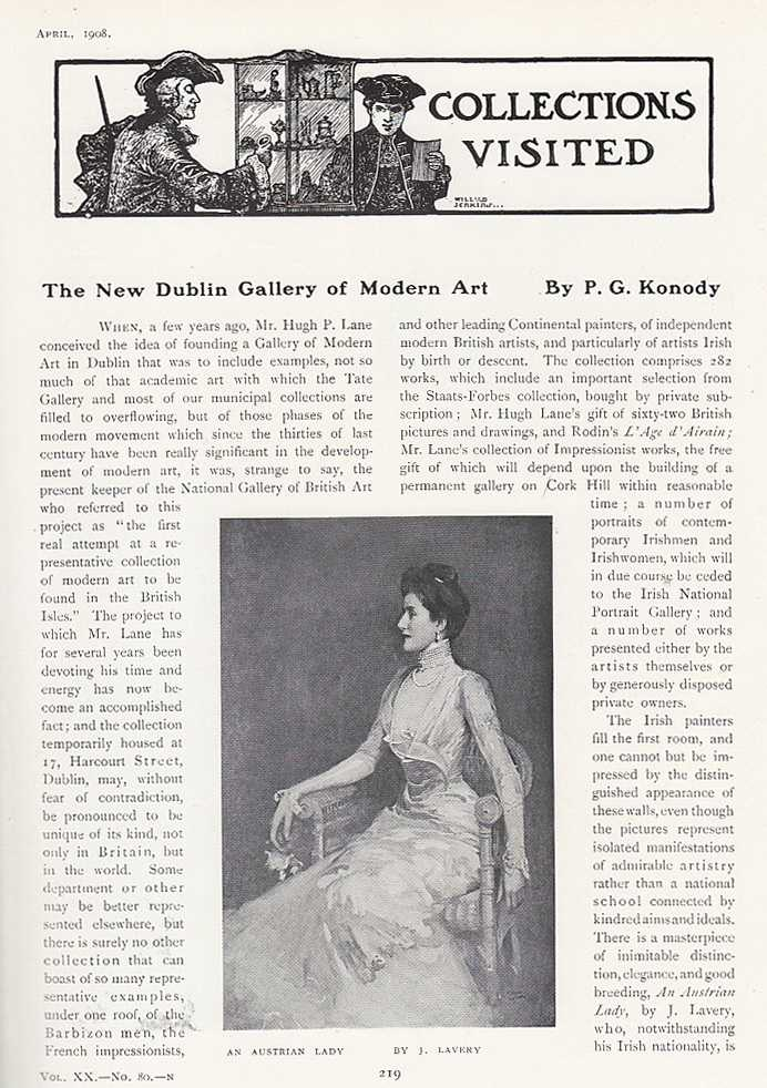 KONODY, P.G. - The New Dublin Gallery of Modern Art. An original article from The Connoisseur, 1908.