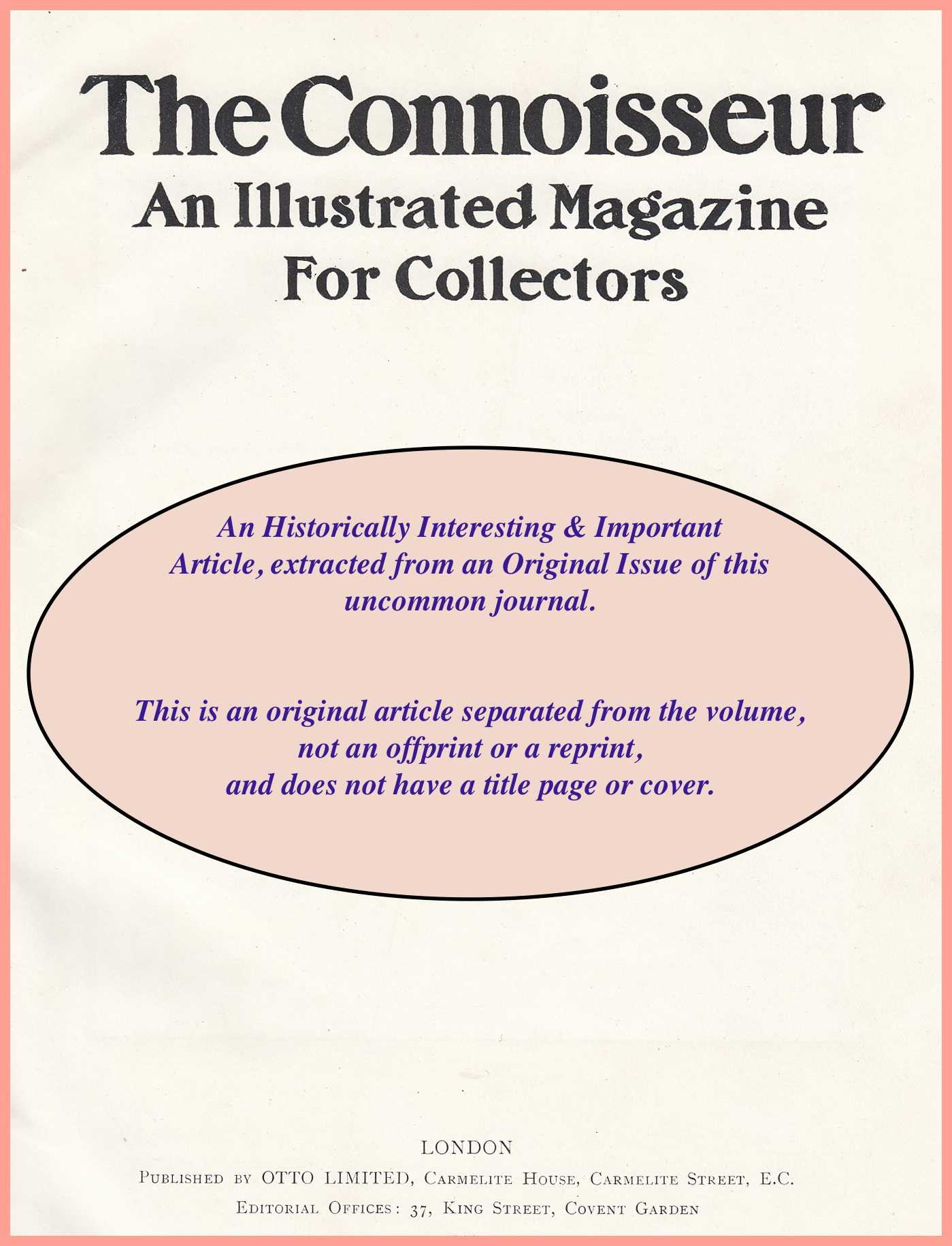 FLETCHER, J. KYRLE - A Collection of Inkpots. An original article from The Connoisseur, 1918.