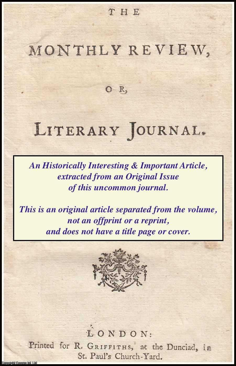 --- - The Works of Anacreon and Sappho, with pieces from Ancient Authors; and occasional Essays; illustrated by Observations on their Lives and Writings. A rare original article from the Monthly Review, 1769.