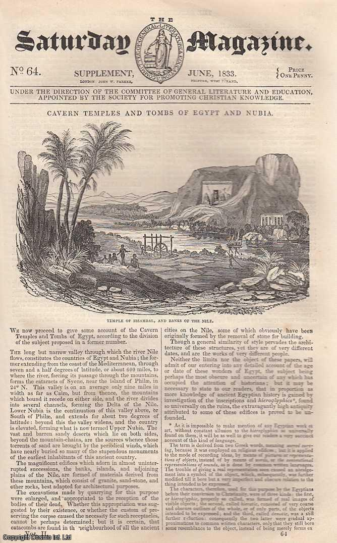 ---. - Cavern Temples and Tombs of Egypt and Nubia. Issue No. 64. June, 1833. A complete rare weekly issue of the Saturday Magazine, 1833.