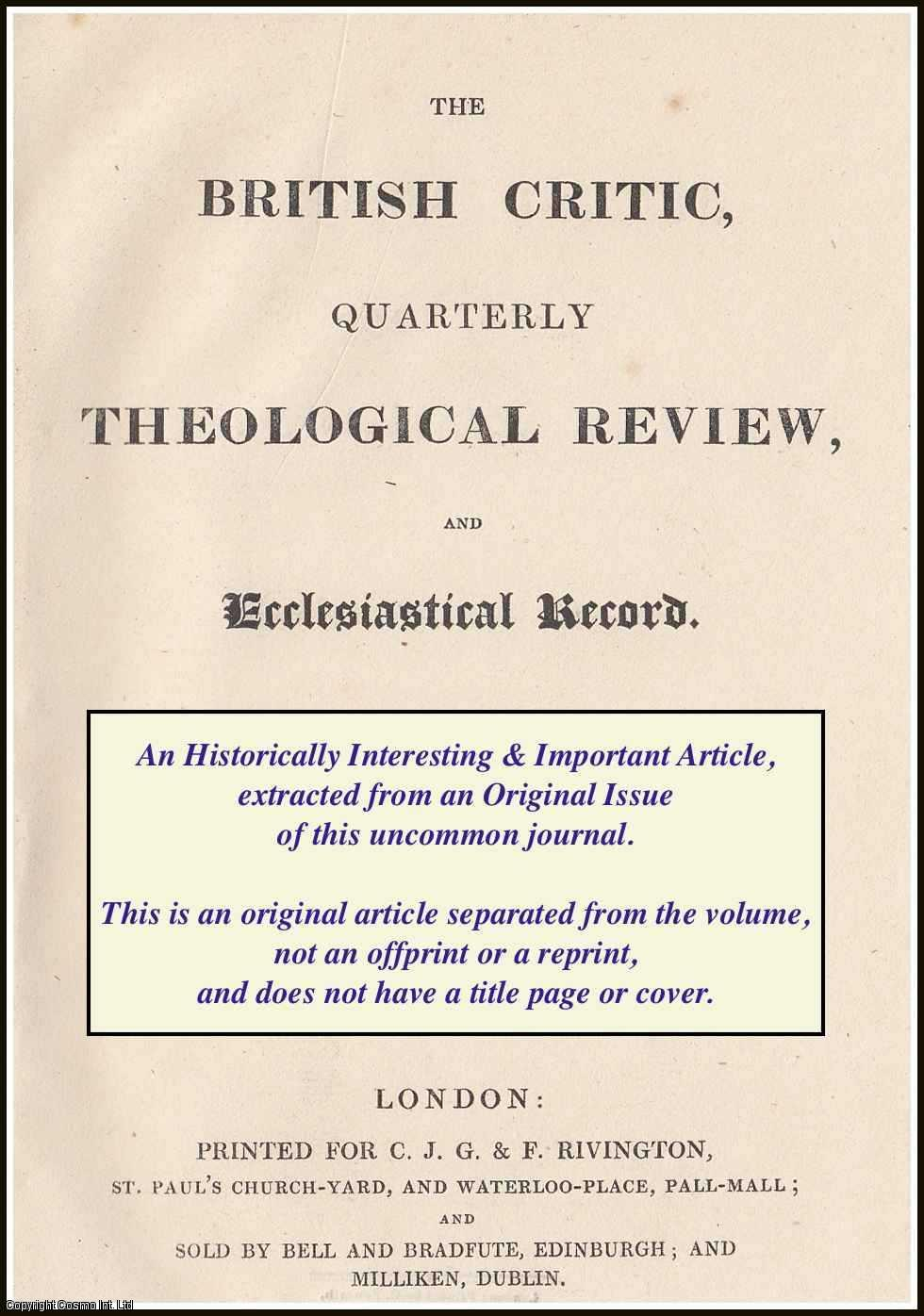 --- - Edward Eliot: On The Religious Education of Slaves. A rare original article from the British Critic, 1827.