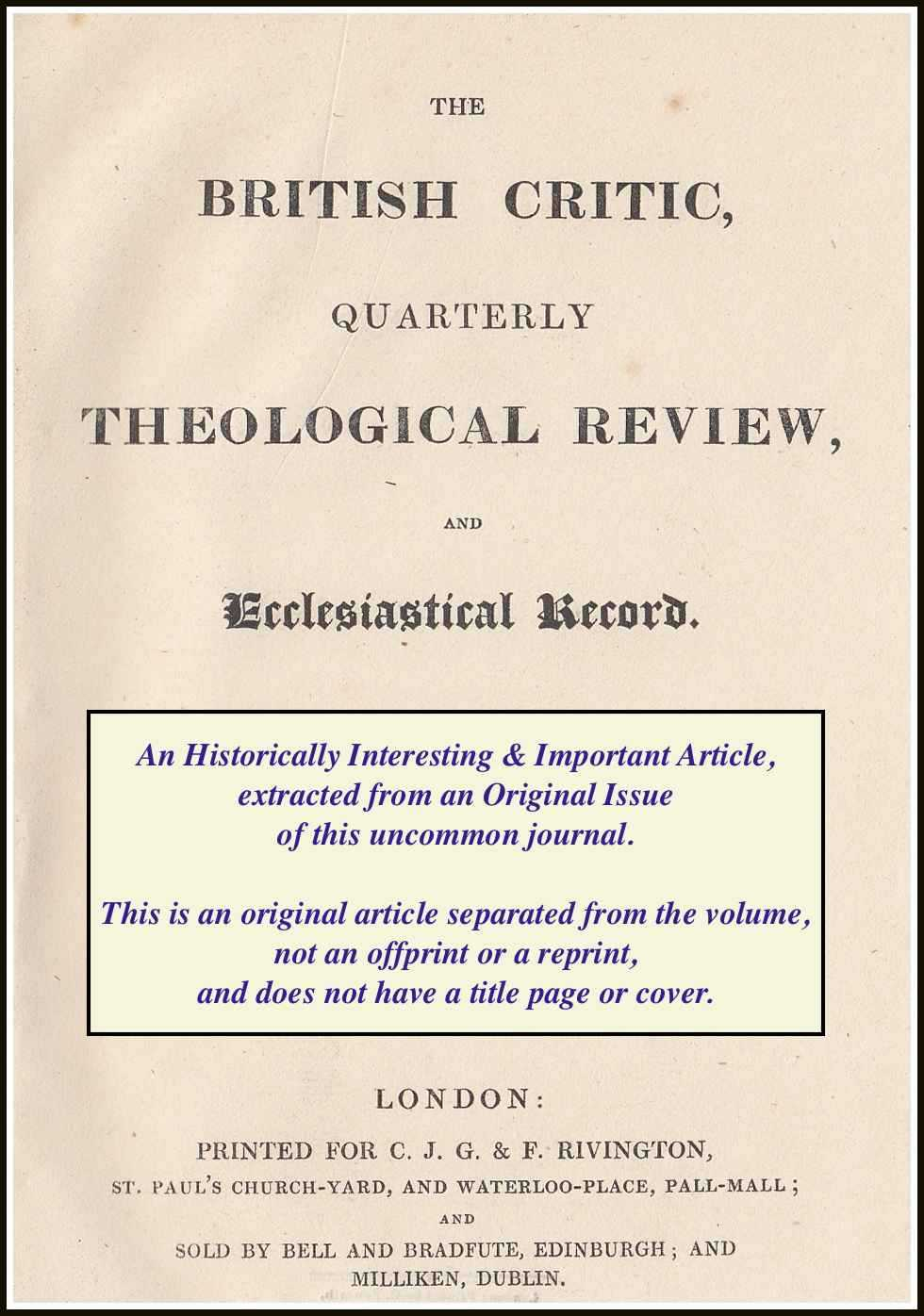 ROSE, HUGH JAMES - On The Study of The Fathers of The Church. A rare original article from the British Critic, 1831.