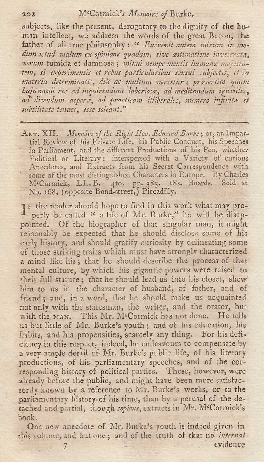 WALLACE, THOMAS - Memoirs of The Right Hon. Edmund Burke; or, an Impartial Review of his Private Life, his Public Conduct. by Charles McCormick. A rare original article from the Monthly Review, 1798.