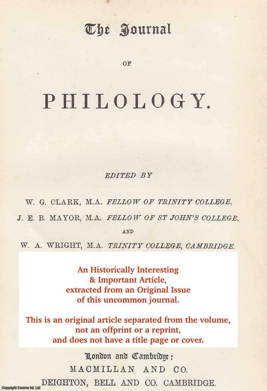 THOMPSON, W. H. - The Genuineness of The Sophist of Plato, and on some of its Philosophical Bearings. An original article from the The Journal of Philology 1879.