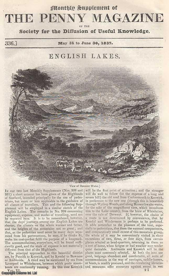 --- - English Lakes: Derwent, Windermere, etc. Issue No. 336, June 30th, 1837. A complete rare weekly issue of the Penny Magazine, 1837.