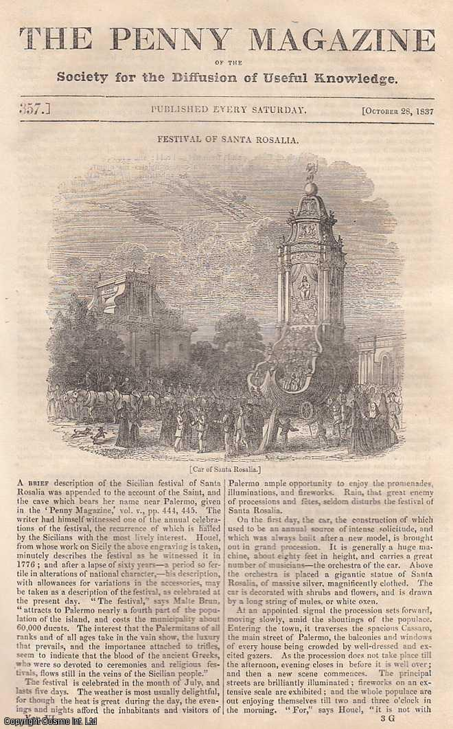 --- - Festival of Santa Rosalia (Sicilian Festival); The Northumbrian Fishermen; The Colony of Zoar; The Jerboa (Rodent); A Month at Sea: Along Side The Wharf on The East River, New York, continued, etc. Issue No. 357, October 28th, 1837. A complete rare weekly issue of the Penny Magazine, 1837.