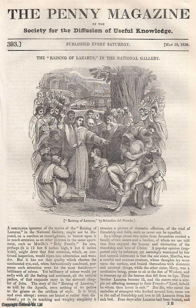 --- - The Raising of Lazarus, in The National Gallery; Coronation of James I; Coverings For The Feet, concluded; Chinese English; Consumption of Fish in England Formerly and at The Present Time, etc. Issue No. 393, May 19th, 1838. A complete rare weekly issue of the Penny Magazine, 1838.