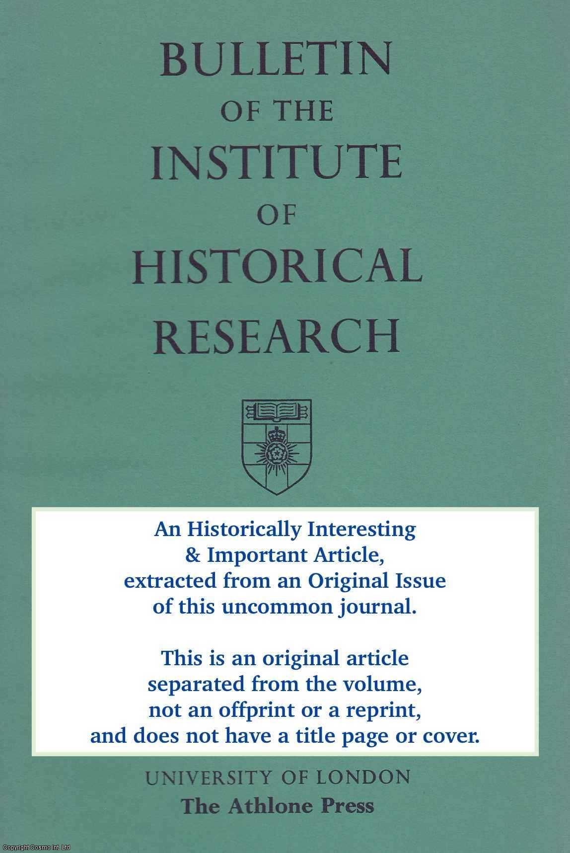 SEDDON, P.R. - The Origins of The Nottinghamshire Whigs: an Analysis of The Subscribers to The Election Expenses of Sir Scrope Howe and John White. An original article from the Bulletin of The Institute of Historical Research 1996.