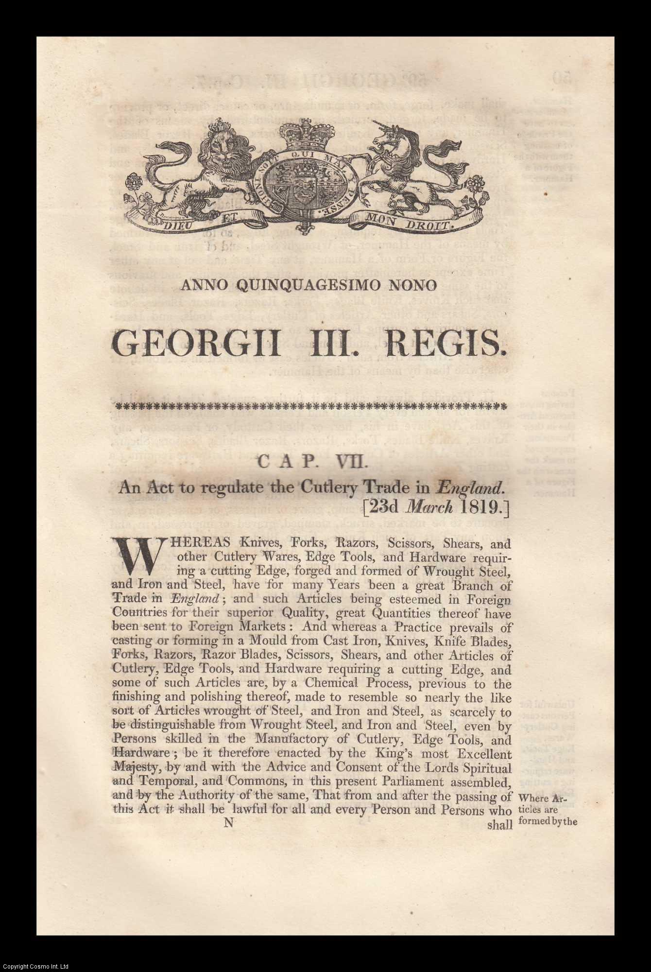 KING GEORGE III - Cutlery Trade Act 1819 (c.7. 59 Geo. 3). An Act to Regulate the Cutlery Trade in England.