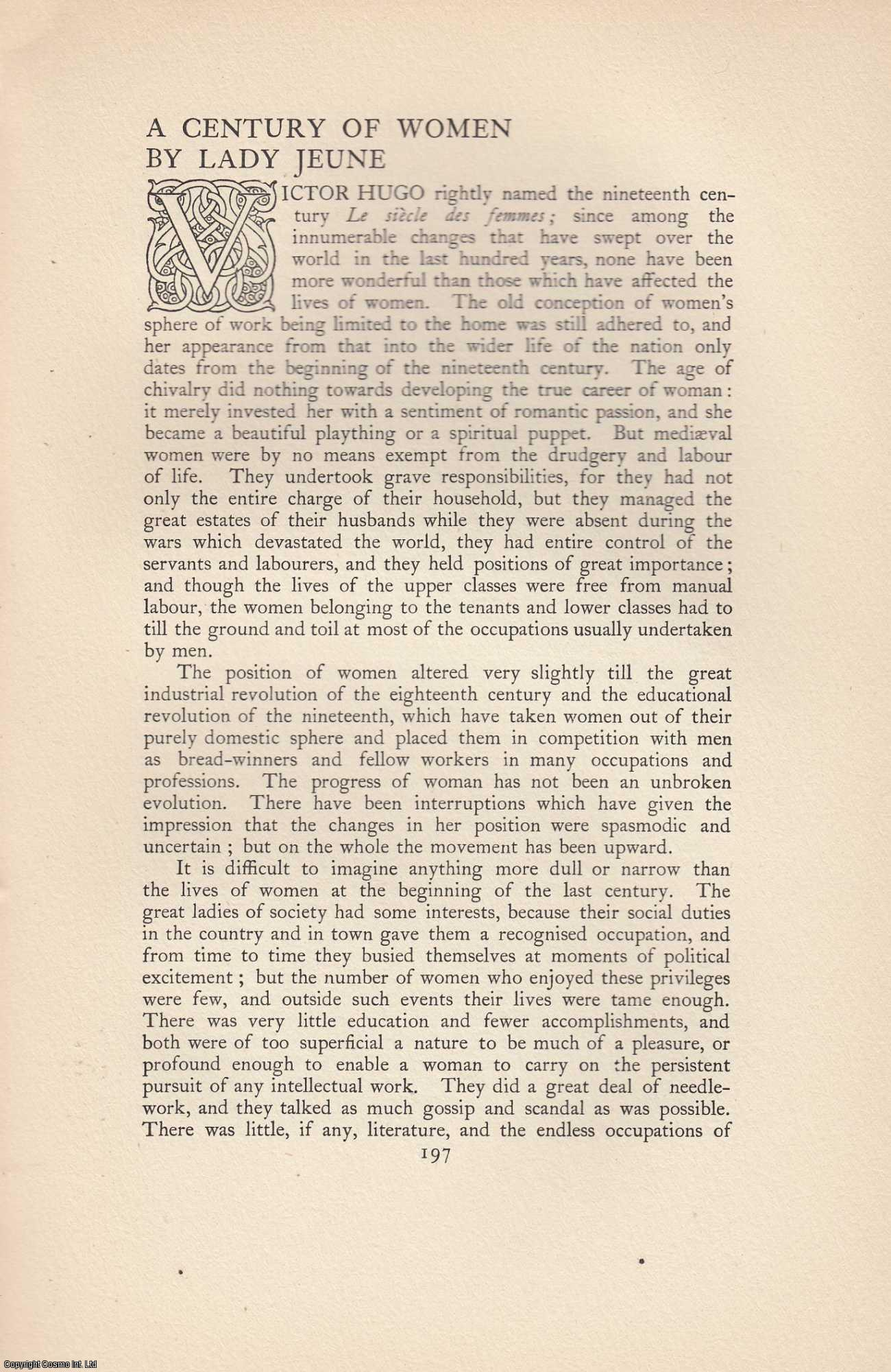 LADY JEUNE - A Century of Women. An original article from The Anglo Saxon Review. John Lane 1900.