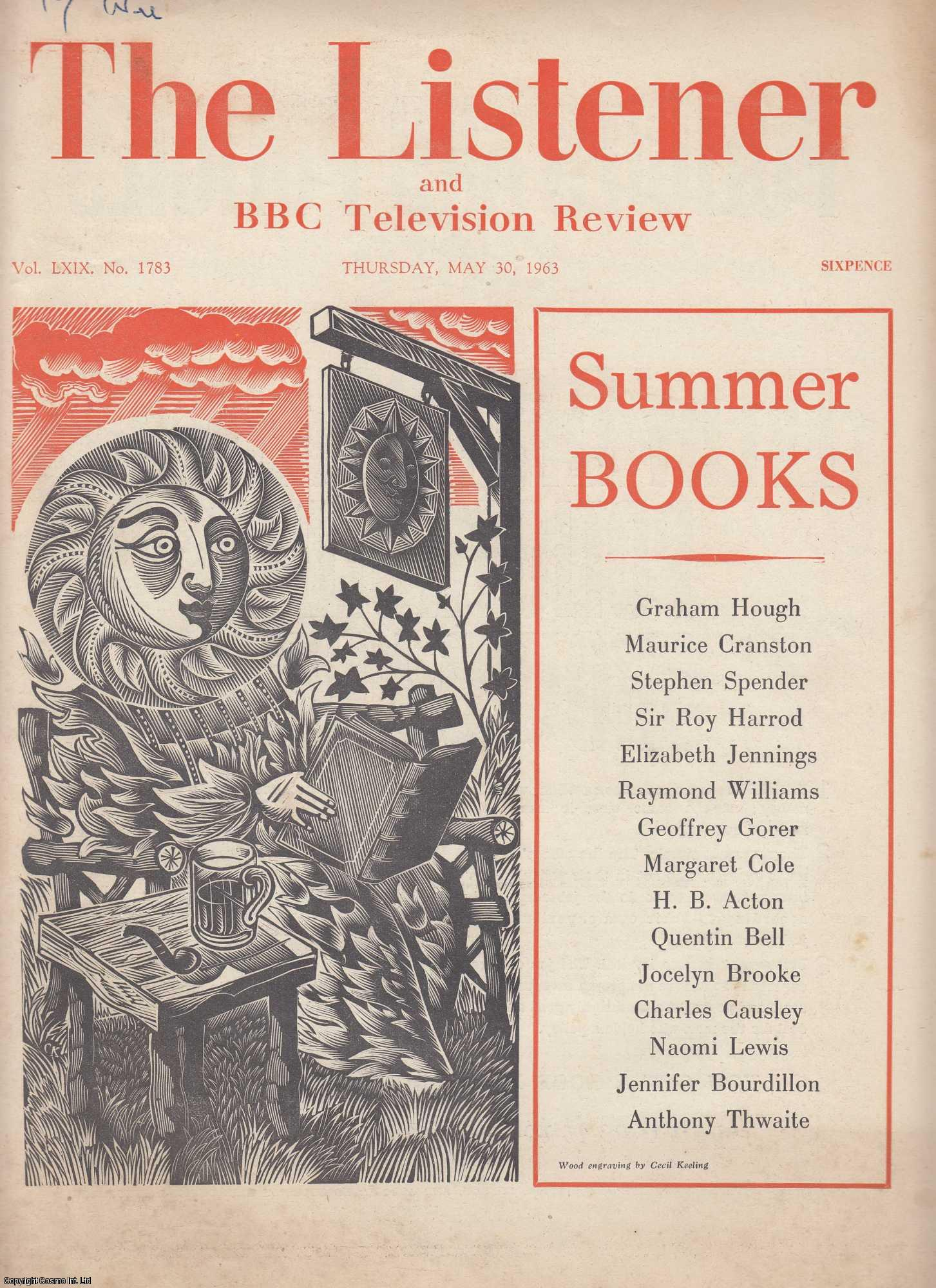 THE LISTENER - Cecil Keeling cover. The Listener and BBC Television Review. Vol. LXIX, No. 1783. May 30, 1963.