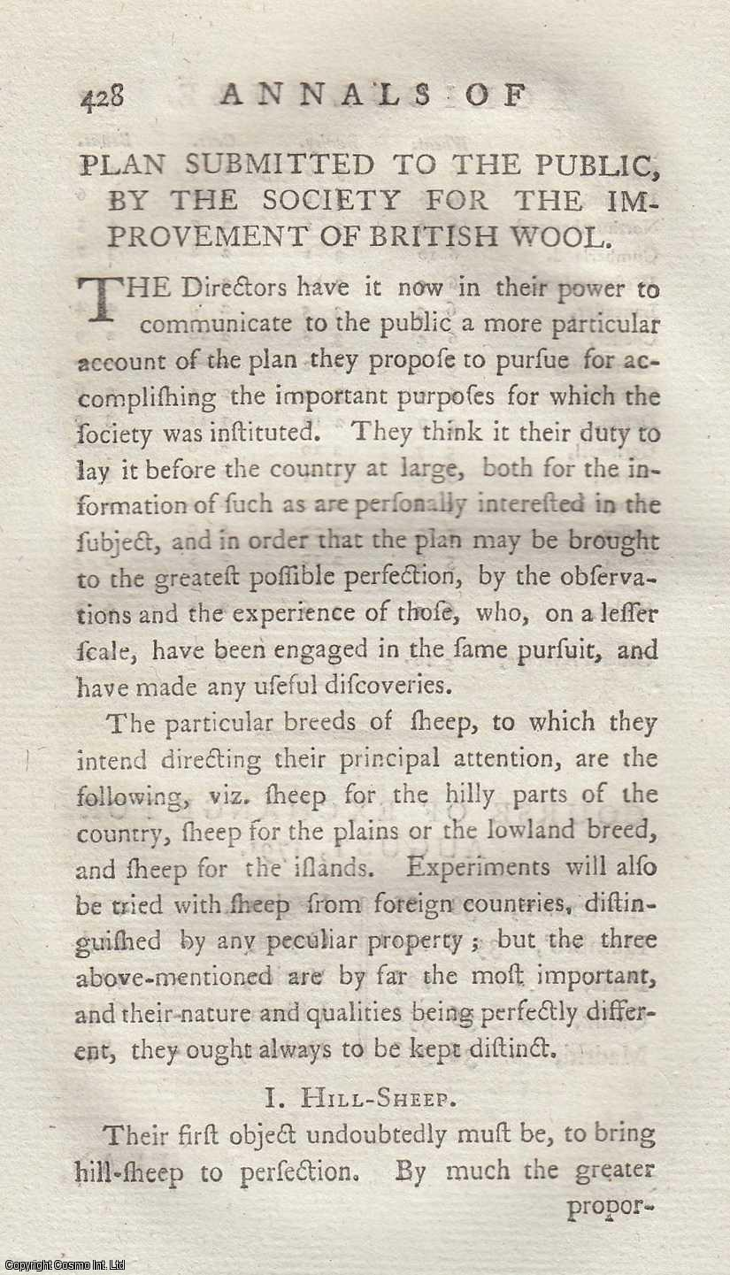 SINCLAIR, JOHN - Plan Submitted to the Public, by the Society for the Improvement of Wool. An original article from the Annals of Agriculture 1791.