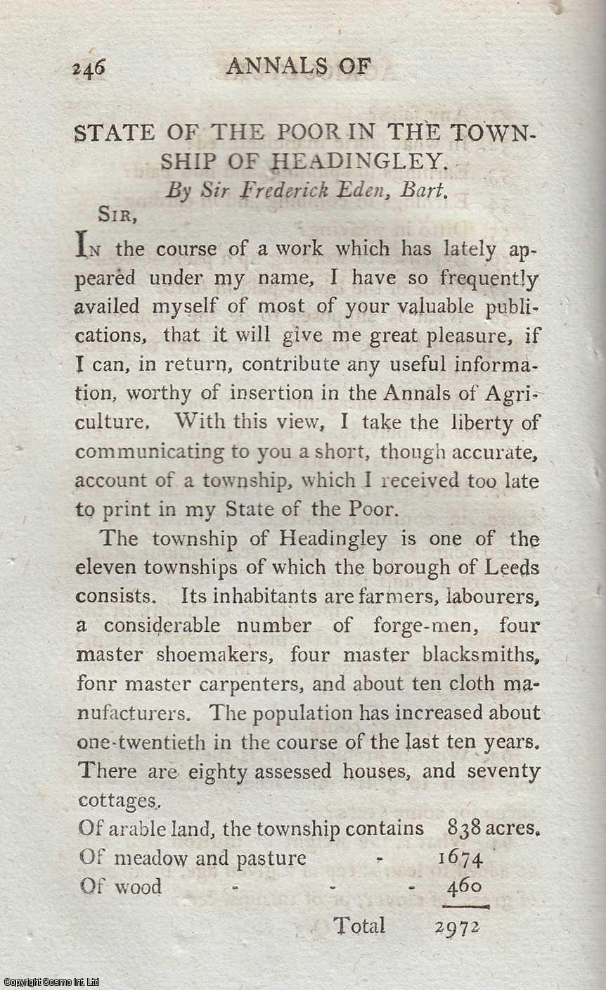 EDEN, FREDERICK - State of the Poor in the Township of Headingley. An original article from the Annals of Agriculture 1797.