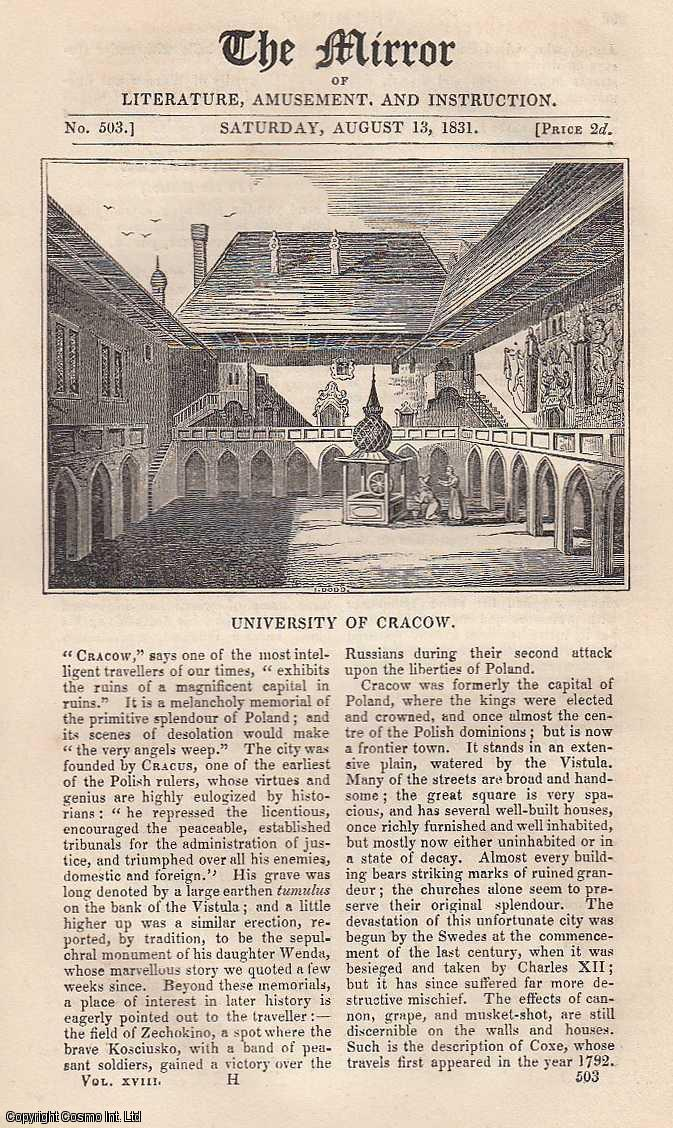 THE MIRROR - University of Cracow, Poland and Curious Ancient Tenures. A complete rare weekly issue of the Mirror of Literature, Amusement, and Instruction, 1831.