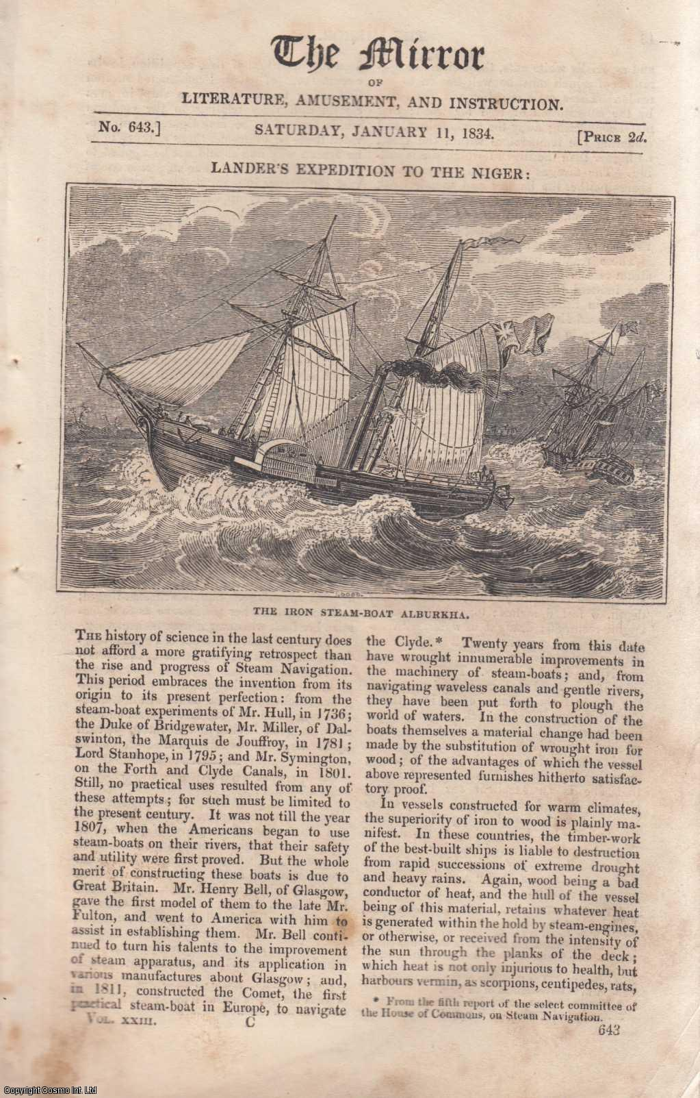 THE MIRROR - Lander's Expedition to the Niger: The Iron Steam Boat Alburkha. A complete rare weekly issue of the Mirror of Literature, Amusement, and Instruction, 1834.