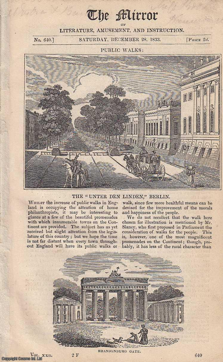 THE MIRROR - The Unter Den Linden, Berlin, and Letters from Switzerland and Italy. A complete rare weekly issue of the Mirror of Literature, Amusement, and Instruction, 1833.