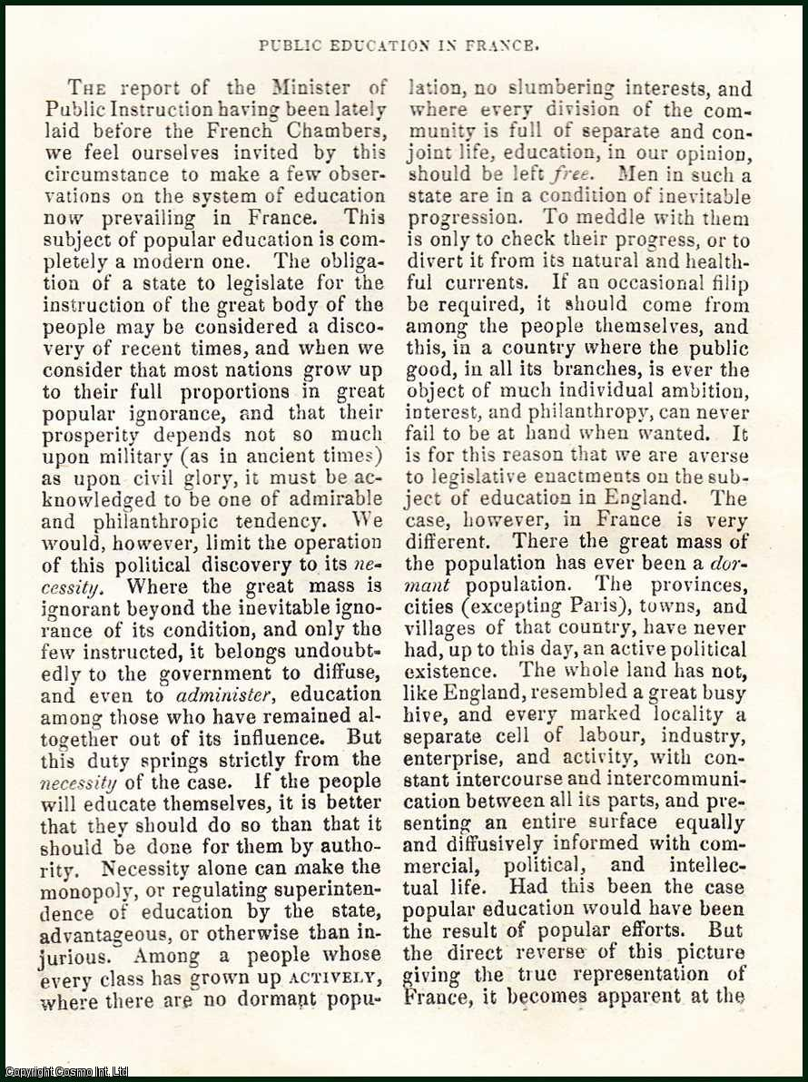 O'DONNELL, ARNOUT - Public Education in France. A rare original article from the Blackwood's Edinburgh Magazine, 1835.