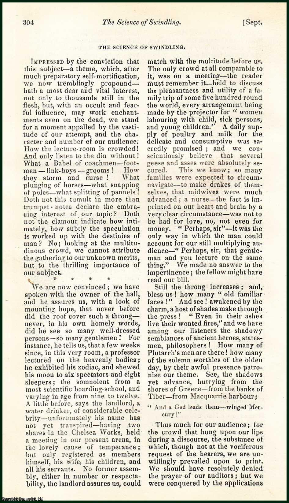 JERROLD, D.W. - The Science of Swindling: Political Satire. A rare original article from the Blackwood's Edinburgh Magazine, 1835.