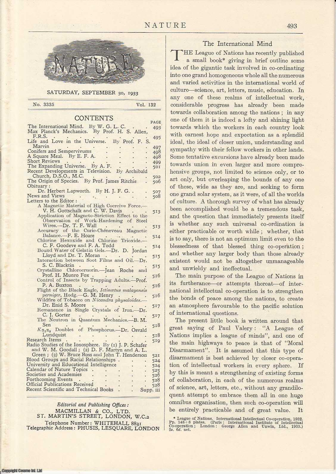 NATURE - Nature,Volume 132, Number 3335. Nature, A Weekly Journal of Science. Saturday, September 30th, 1933.