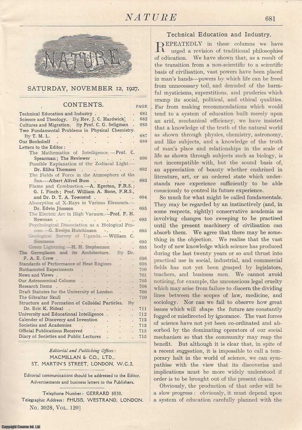 NATURE - Nature, Volume 120, Number 3028. Nature, A Weekly Journal of Science. Saturday, November 12th, 1927.