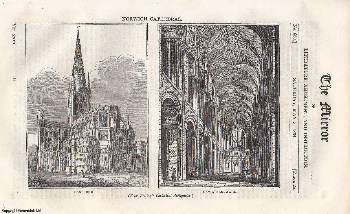THE MIRROR - Norwich Cathedral & Birds Nests. A complete rare weekly issue of the Mirror of Literature, Amusement, and Instruction, 1834.