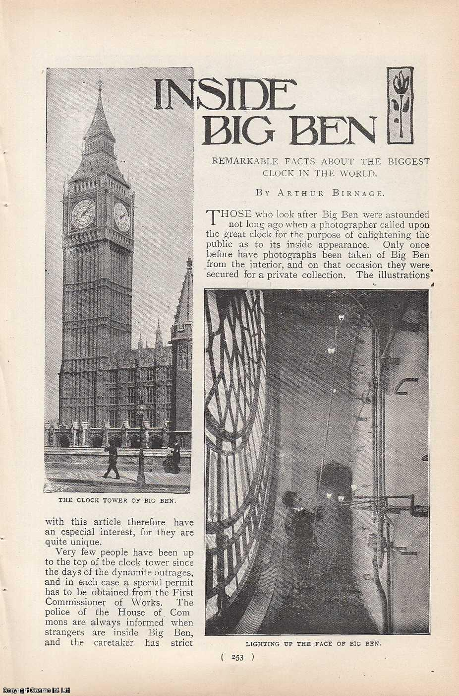 BIRNAGE, ARTHUR - Inside Big Ben (London): Remarkable Facts About The Biggest Clock in The World. A rare original article from the Harmsworth London Magazine, 1900-01.