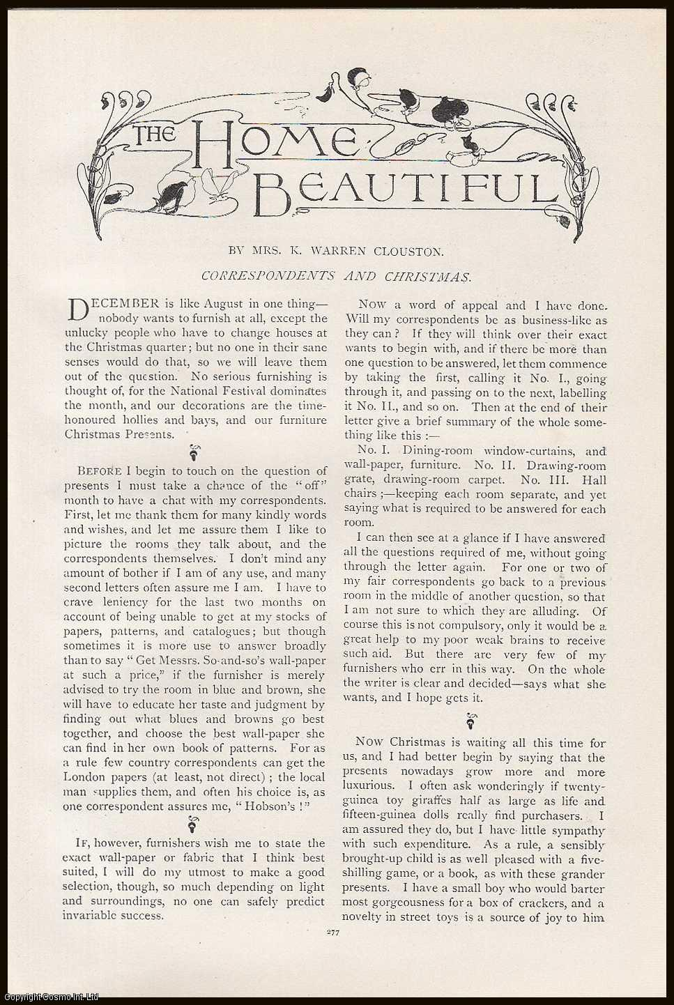 CLOUSTON, MRS. K. WARREN - Messrs, Correspondents and Christmas: The Home Beautiful. An original article from the Lady's Realm 1898-99.