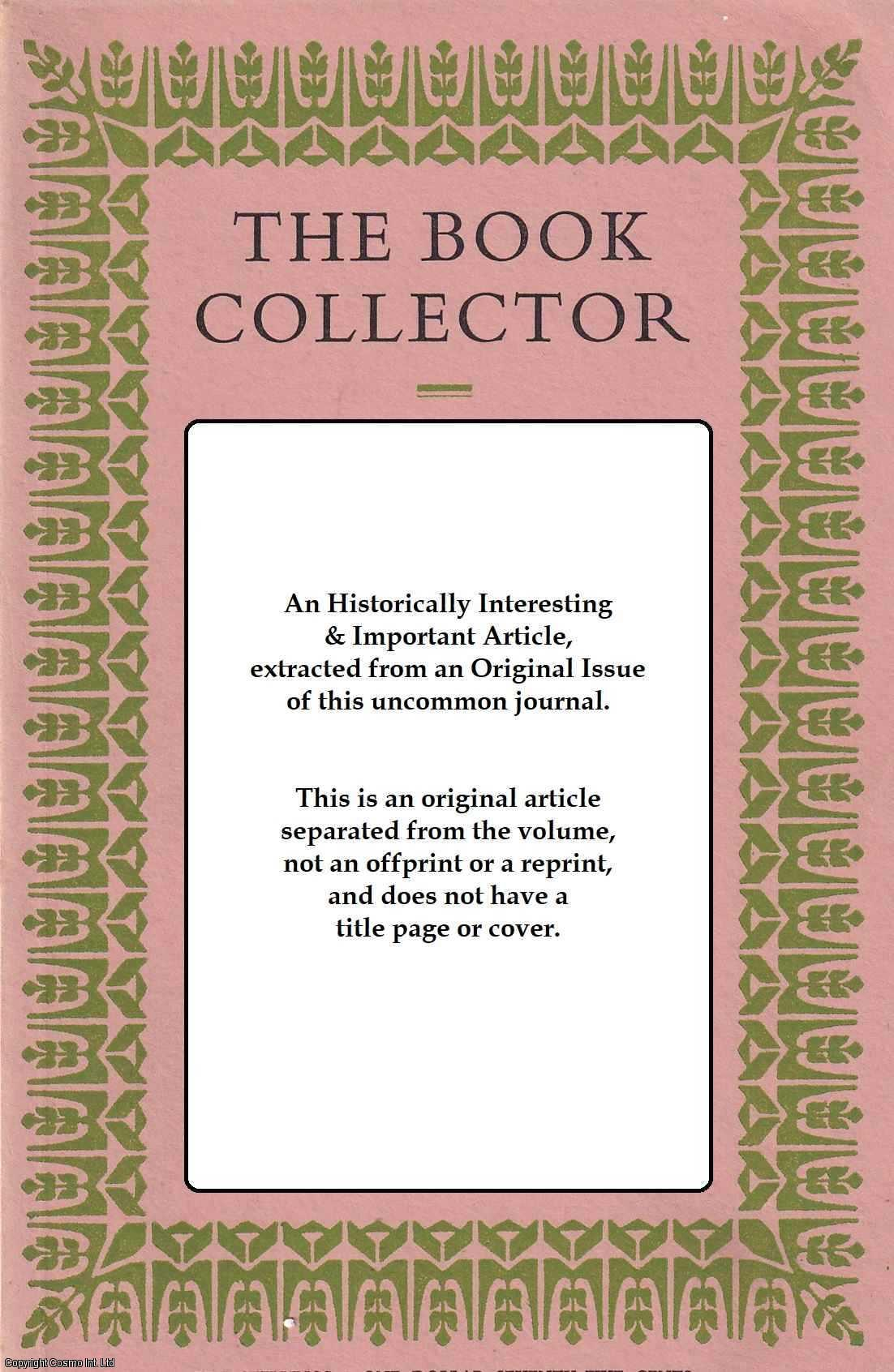 BARKER, NICOLAS - A Register of Writs and The Scales Binder. Part 2. The Scales Binder. This is an original article separated from an issue of The Book Collector Journal.