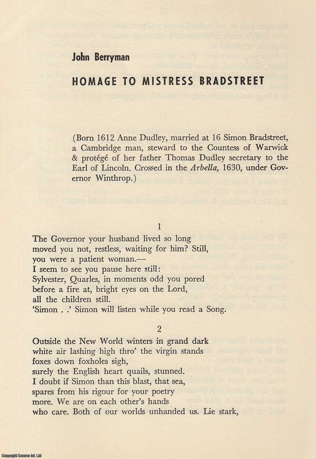 JOHN BERRYMAN - Homage to Mistress Bradstreet (a poem). An original article from the Partisan Review 1953.