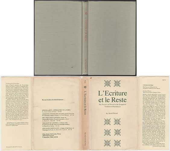 L'Ecriture et Le Reste : The Pensees Of Pascal In The Exegetical Tradition Of Port-Royal, Wetsel, David