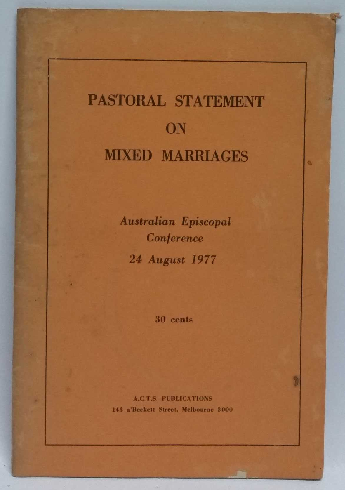 Pastoral Statement on Mixed Marriages, Australian Episcopal Conference